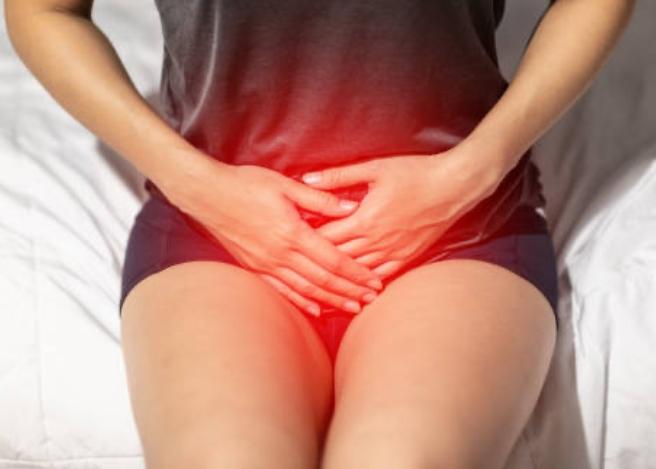 Woman experiencing pelvic pain.